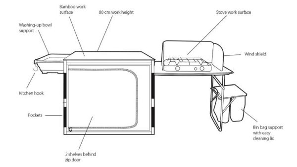 Outwell Padres Kitchen Side Unit